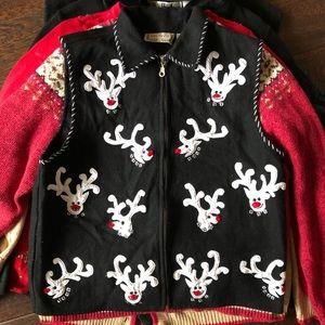 White Reindeer Western Look Vest Cardigan Holiday
